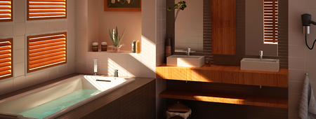 salle de bains avec baignoire balnéo Preti France